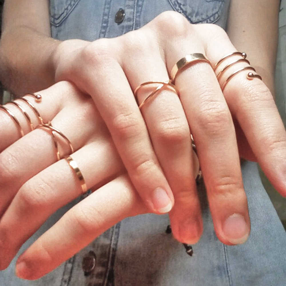 Vienkim 6pcs/Set Unique Ring Set Punk Style Gold Color Knuckle Rings for women Finger Ring Gift