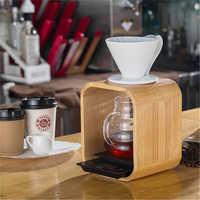Goutteur de café en bois filtre support de verre goutte à goutte tasse support réutilisable verser sur café filtre support Pour accessoire Barista