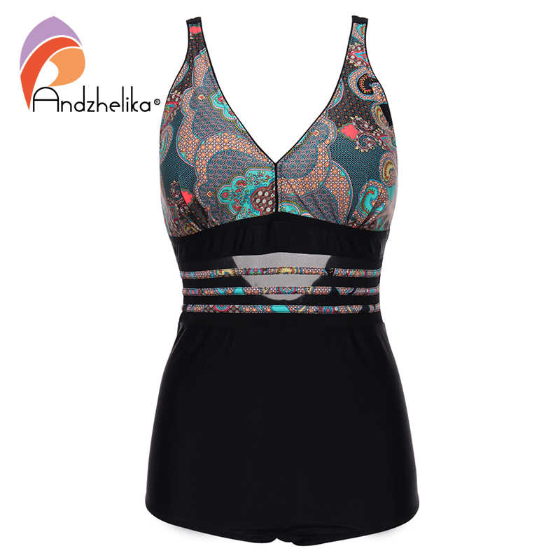 Andzhelika 3XL-7XL Women One Piece Swimsuit Vintage Print Plus Size Swimsuit Waist Sexy Mesh Beach Halter Swimwear Swimming Suit