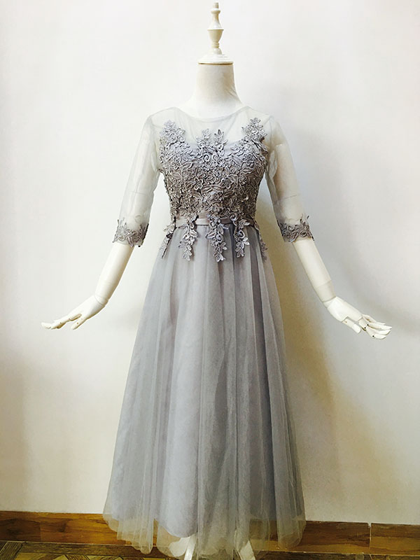 2019 new   Bridesmaid     Dresses   plus size stock cheap under $50 sexy romantic sister simple elegant fashion grey silver long lace