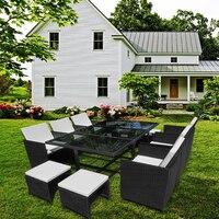 Сад набор диван из ротанга с обеденный стол и 6 стульев 4 стула мебель дропшиппинг