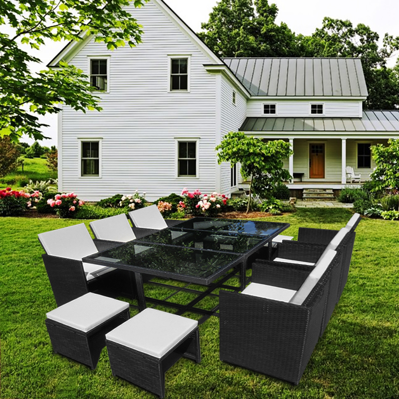 Garden Rattan Sofa Set with Dining Table 6 Chairs 4 Stools Outdoor Furniture Dropshipping classic outdoor l shaped sofa healthy pe rattan hot sale garden vine balcony rattan sofa whole set include table cushions sofa
