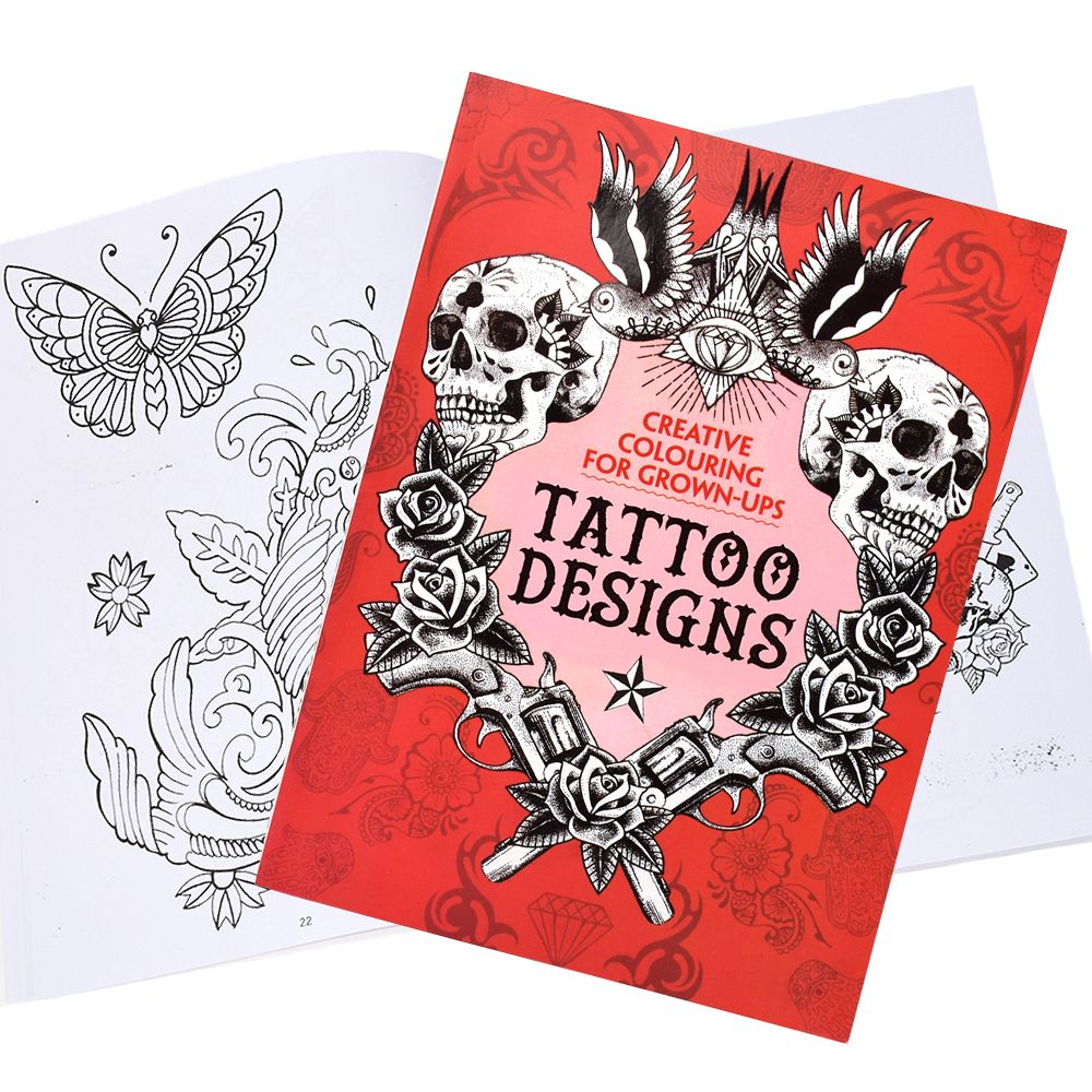 Creative Colouring For Grown-UpsTraditional Tattoo Flash Book Skull Pattern Fine Lining For Tattoo Body Art Permanent Makeup