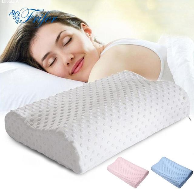 Orthopedic Neck Pillows Fiber Slow Rebound Memory Foam Pillow Cervical Health Care Orthopedic Latex Neck Foam Pillow 49x29x9cm