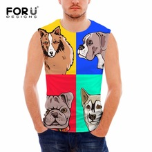 FORUDESIGNS 3D Cartoon Animal Dog Print Tank Top for Man Designer Male Bodybuilding Fitness Top Tees Sleeveless Blusa Masculina