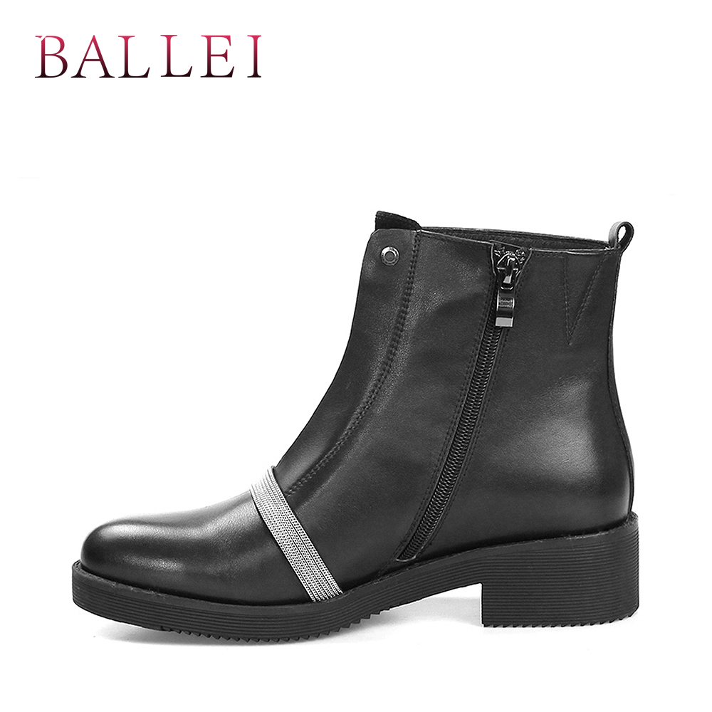 BALLEI Fashion Woman Winter Ankle Boots Good quality Luxury Genuine Leather Round Toe Square Heels Soft Shoes Classic Boots B8 in Ankle Boots from Shoes