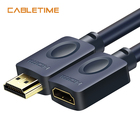 Cabletime HDMI Extension cable 4k 60Hz 3D UHD Pro HDMI 2.0 Male To Female Extender Triple Shielding for HDTV PC Monitors N114