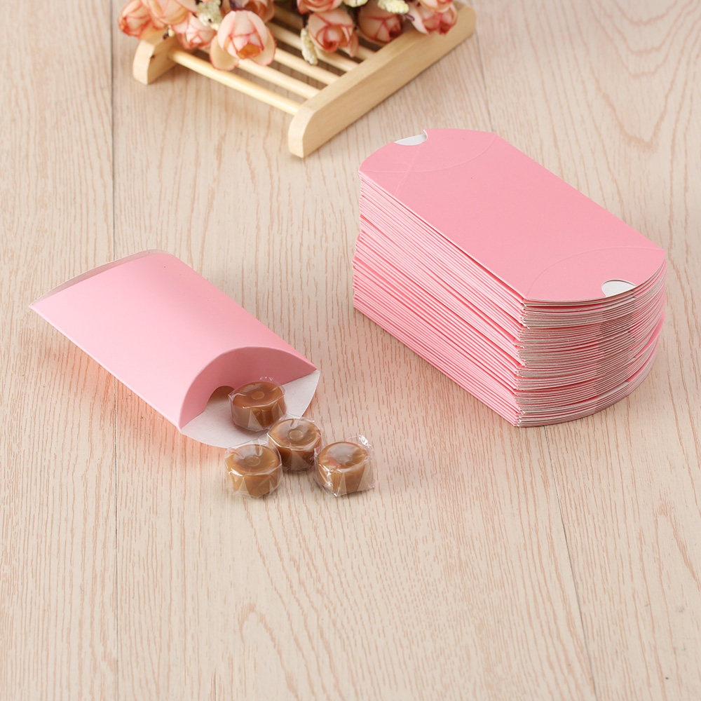 Online Shop 1pc Beige And Red Paper Pillow Boxes For Gifts wedding ...