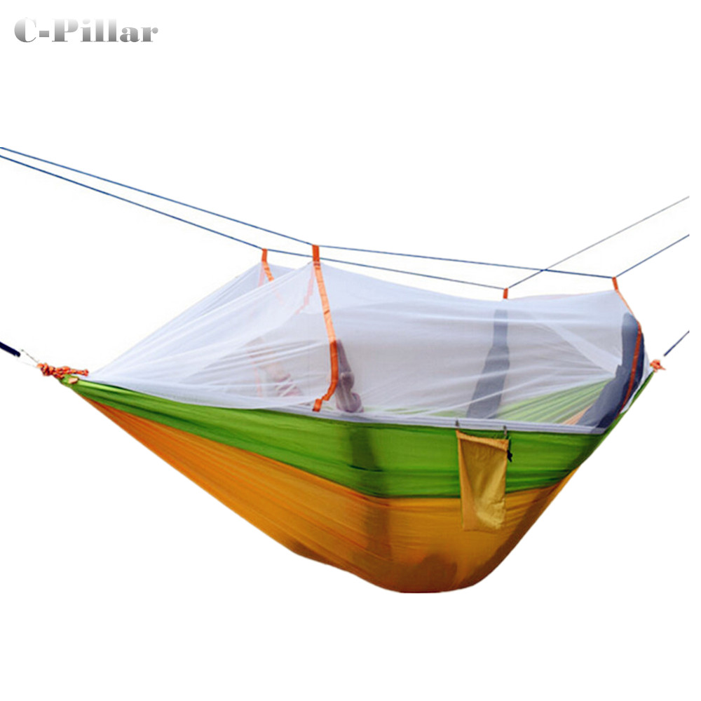 3 Colors Hammock Mosquito Net Double Portable Parachute Nylon Fabric Hammock for Travel Camping Outdoor Large Garden Hang Swing 2017 portable nylon garden outdoor camping travel furniture mesh hammock swing sleeping bed nylon hang mesh net