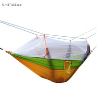 3 Colors Hammock Mosquito Net Double Portable Parachute Nylon Fabric Hammock for Travel Camping Outdoor Large Garden Hang Swing