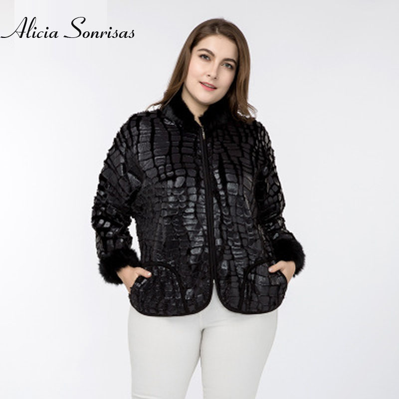 Women Spring Jacket New 2018 Plus Size 4XL 5XL Two Pockets Fur Sleeve Stand Collar Faux Crocodile Leather Skin Warm Jacket AS838