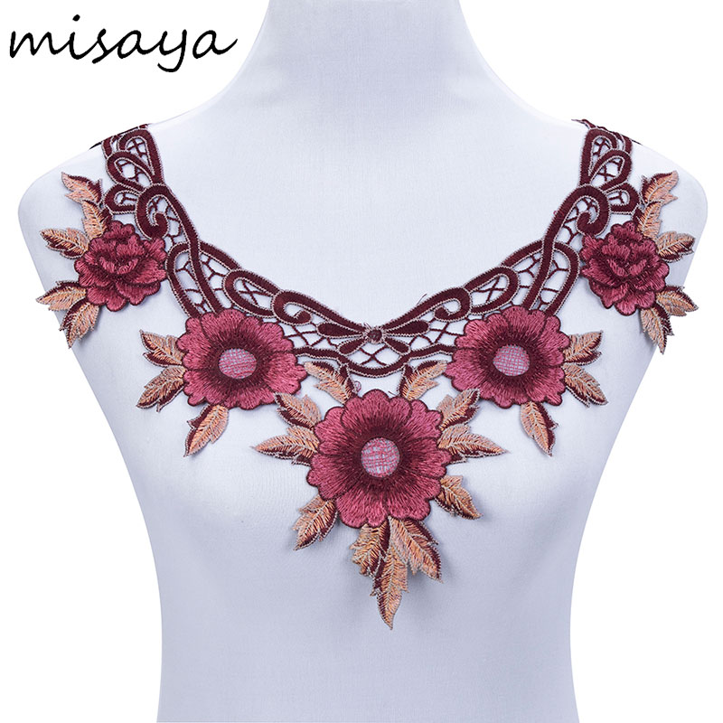 Misaya 1pc Embroidery Pink Flower Mesh Lace Polyester