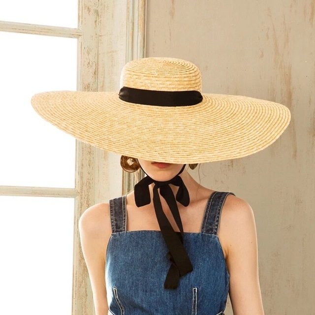 0b94138ad5d9b Wide Brim Hat Summer Beach Wheat Straw Women Boater hat with Ribbon Tie For  Vacation Holiday Audrey Hepburn 671073