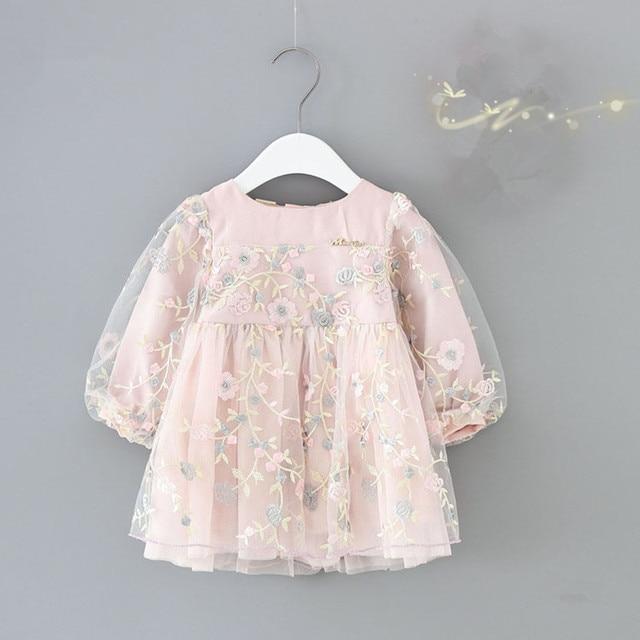 תינוקות בנות בגדי סתיו בנות בייבי שרוול פנס רקמת שמלות המפלגה פרחי יילוד יום הולדת לילדים ללבוש נסיכה