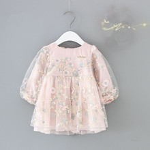 infant girls clothes autumn lantern sleeve baby girls dress kids birthday flowers embroidery party dresses Newborn princess wear недорого