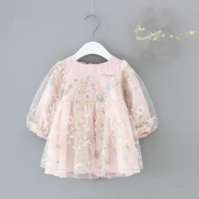infant girls clothes autumn lantern sleeve baby girls dress kids birthday flowers embroidery party dresses Newborn princess wear