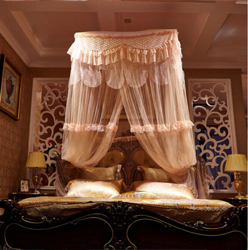 Light Pink Luxury Decorative Dome Bedding Netting Canopy All Sizes - 2
