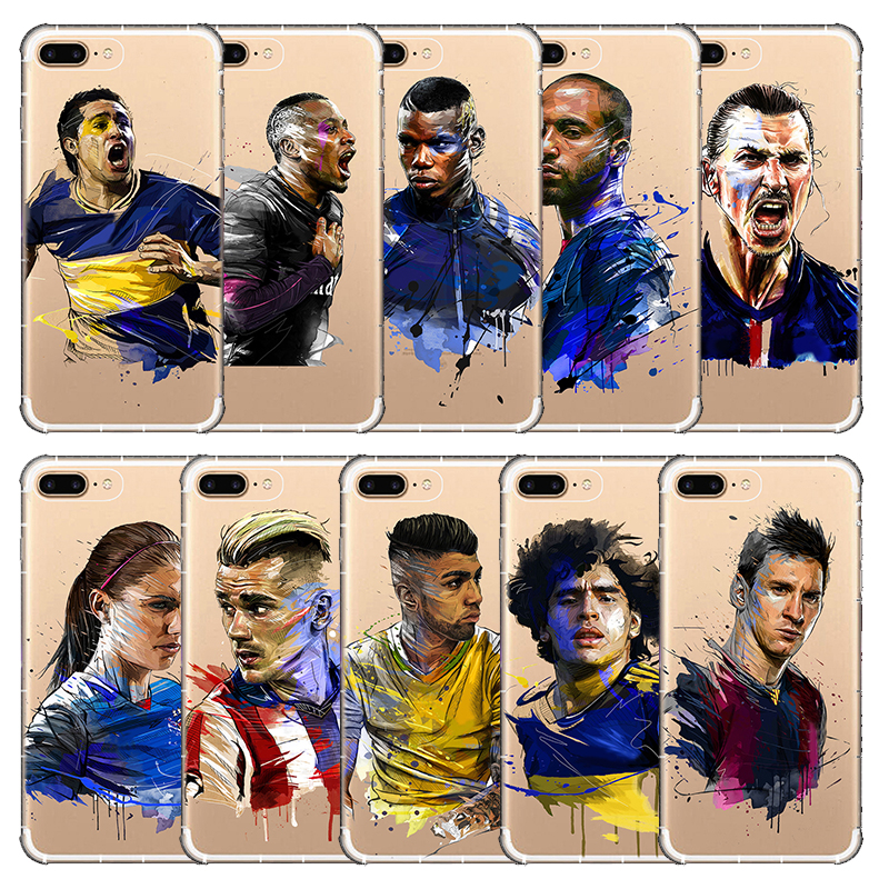 Neymar Messi Football Soccer Phone Cover Soft Silicon Phone Cases For Apple iphone 6 6S 7 8 plus X 5 5S SE