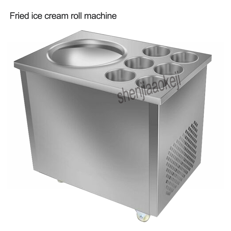 Full Stainless steel One Pan Fried ice cream roll machine pan Fry flat ice cream maker yoghourt fried ice cream machine 1pc intelligent square pan double compressor fry ice cream machine ice pan machine fried ice cream roll machine with freezer