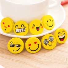 4 Pcs random smile mix  Cute  Style Rubber Pencil Eraser Students Stationery New School office Supplies  for Kids Gift Wh