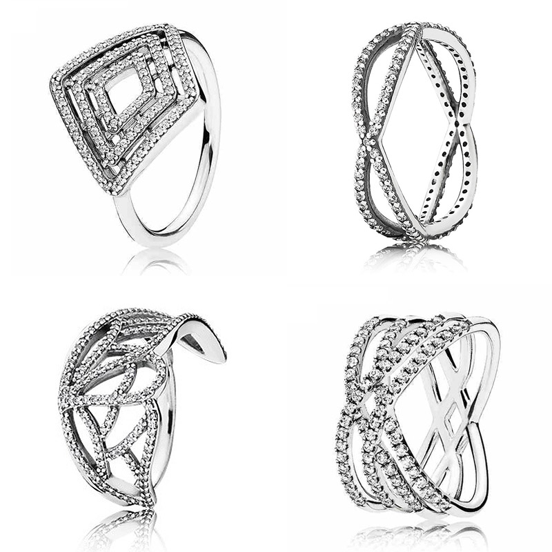 New 925 Sterling Silver Ring Geometric Lines Cosmic Lines Rings With Crystal For Women Wedding Party Gift Fine Pandora Jewelry