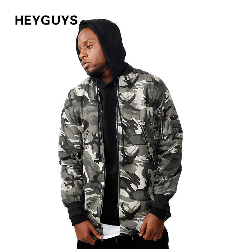 HEYGUYS 2018 high street Европа камуфляжная куртка костюм для мальчиков в стиле хип-хоп пуловер зимняя куртка Для мужчин пальто Модные Для мужчин Повседневное с вышитыми цветами