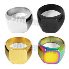 High Polished Colorful Signet Solid Masonic Ring Stainless Steel Jewelry Smooth Surface Motor Biker Men Ring SWRR079