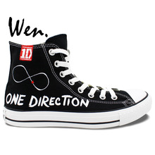 Wen Hand Painted Shoes Design Custom One Direction Man Woman's High Top Black Canvas Sneakers Christmas Gifts