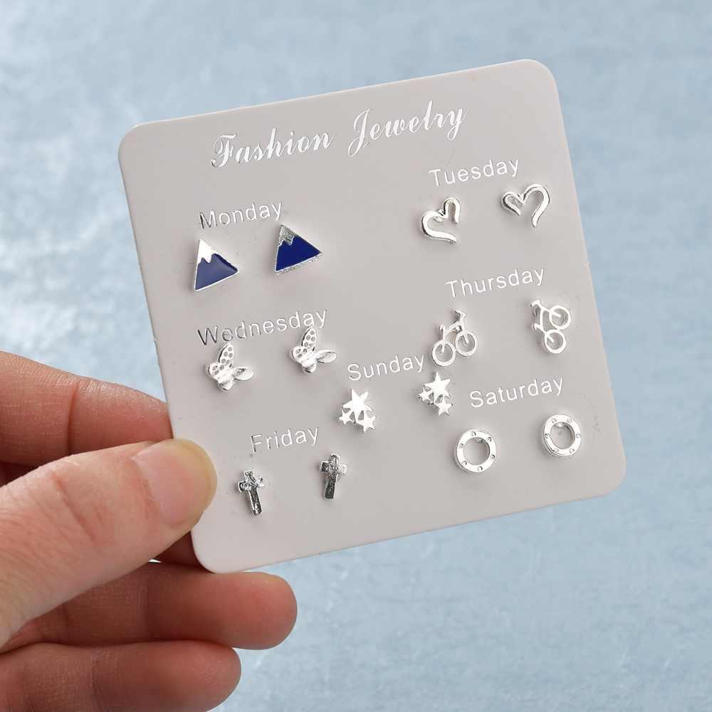 Terreau קאתי 7 זוג הרבה 5 סגנון חדש אופנה נשים עגילי תכשיטים פשוט חיטה ספייק משקוף סט עגילי סגסוגת אבזרים