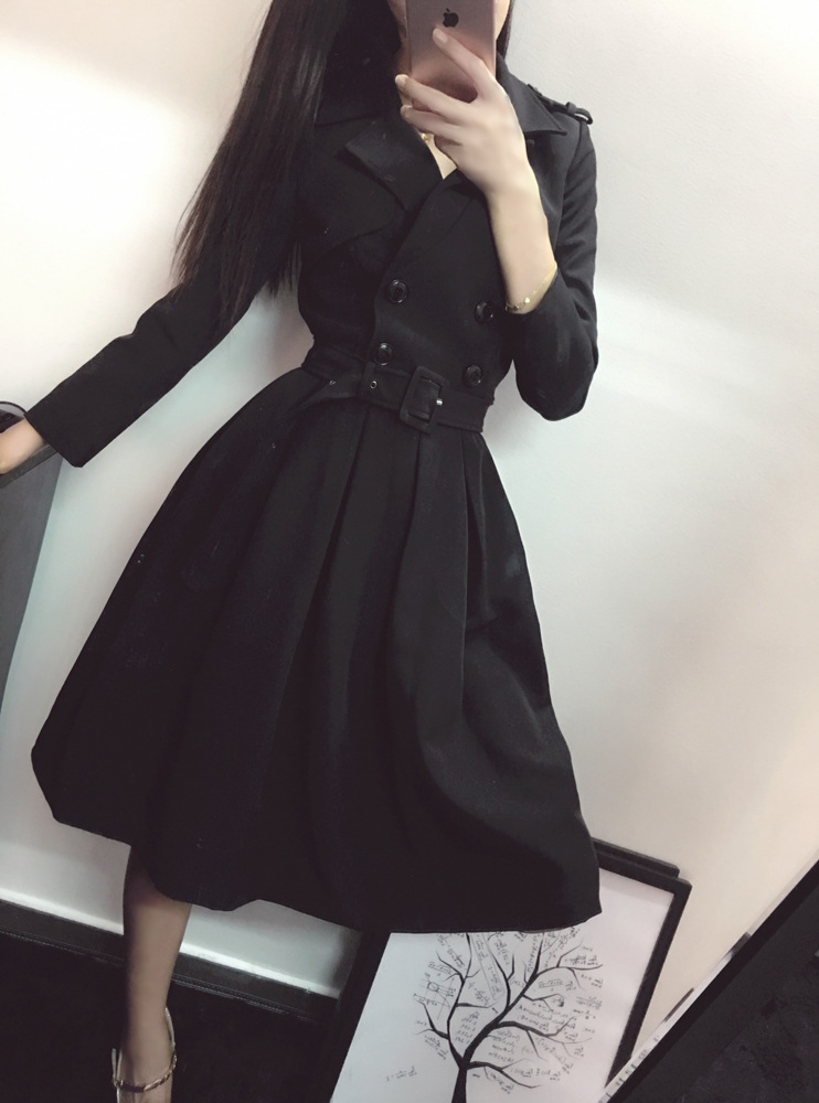 2016 autumn women pure black notchedlepel double breasted A-line mini lady dress simple vintage female frock export korea 011