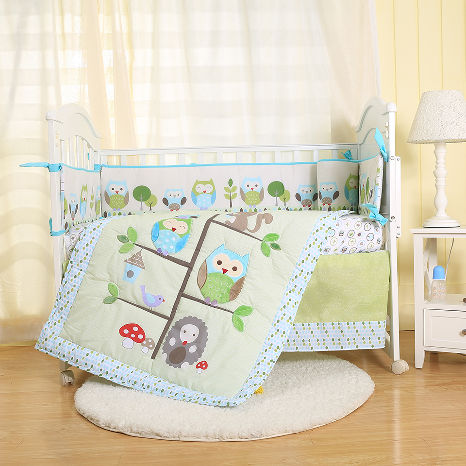 4pcs newborn baby embroidery crib cot bumper bedding set fabric cotton cartoon printed owl on the tree FOR BOY AND GIRL BLUE
