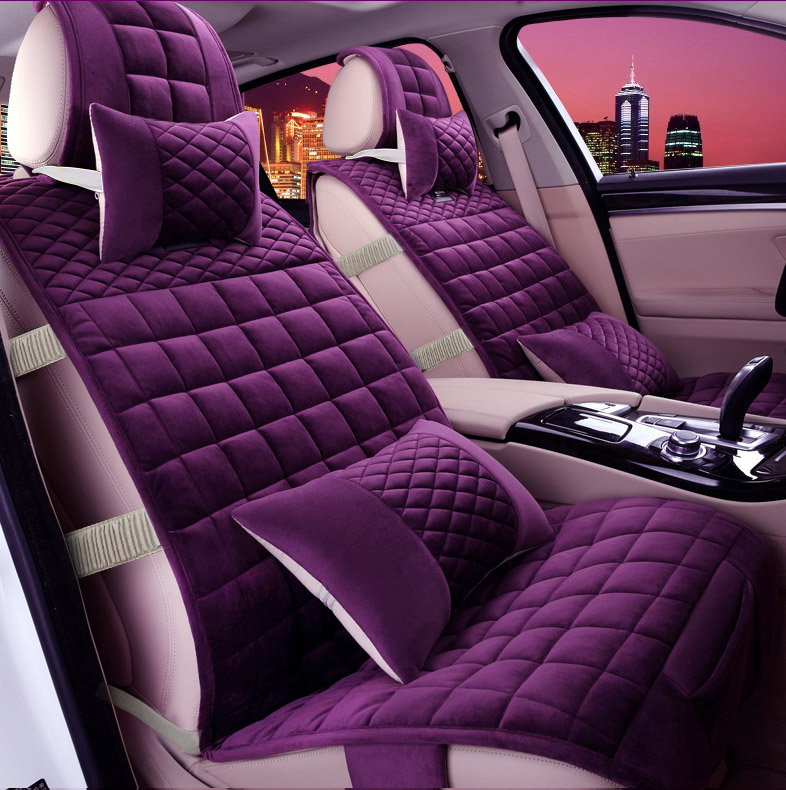 5 pieces / set female car seat covers 2016 new arrival four season women short plush texture of material girls car seat cover ...