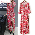 2016 New Arrival Autumn Women's Clothing Deep V-Neck Fashion Floral Printing Brief Brand Slit Slim Sexy Long Loose Dress S-L