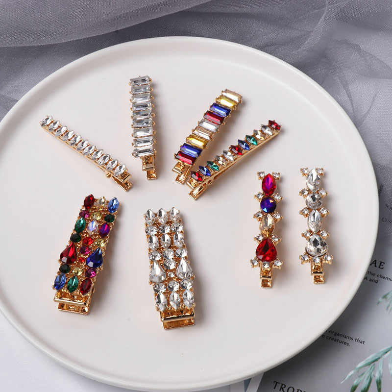 1PC Colorful Crystal Hairpins Metal Geometric Round Oval Rhinestones Hair Clips Hair Jewelry Accessories Gifts