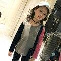 Nuevas Llegadas 2017 de La Moda de Primavera Marca Tee Niños Chicas Estudiante de Manga Larga Verde y Rojo Camisetas