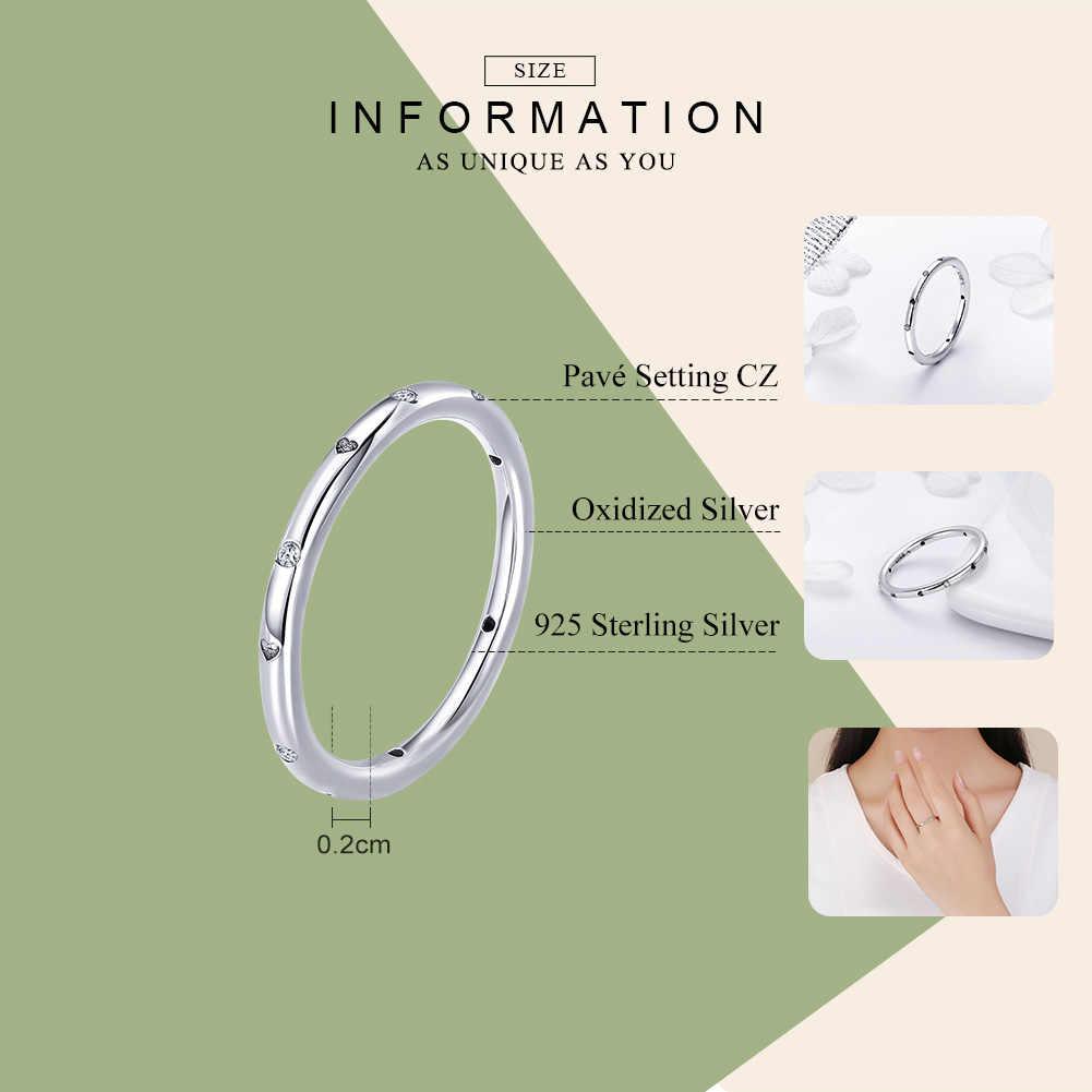 WOSTU แท้ 925 เงินหยด Heart STACKABLE แหวนสำหรับผู้หญิงงานแต่งงานแหวนเครื่องประดับของขวัญคนรัก FIR374