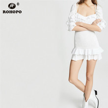 ROHOPO Women Cotton Patchwork Tube White Dress Butterfly Half Sleeve Ruffles Hem Cake Draped Preppy Girl Mini #AZ9295