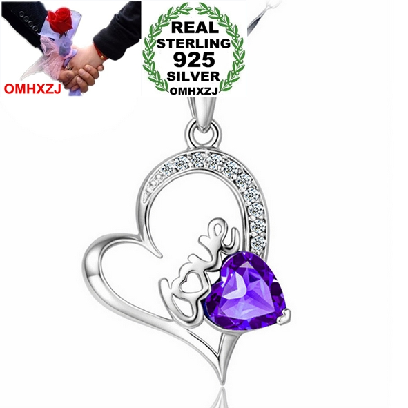 OMHXZJ Wholesale star jewelry kpop love heart Amethyst AAA zircon 925 sterling silver pendant Charms PE29 ( NO Chain Necklace )