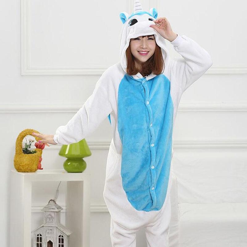Blue White Unicorn Onesie Women Girl Cartoon Animal Kugurumi Funny Cute Overall Winter Warm Sleepwear Carnival Party Pajama Suit