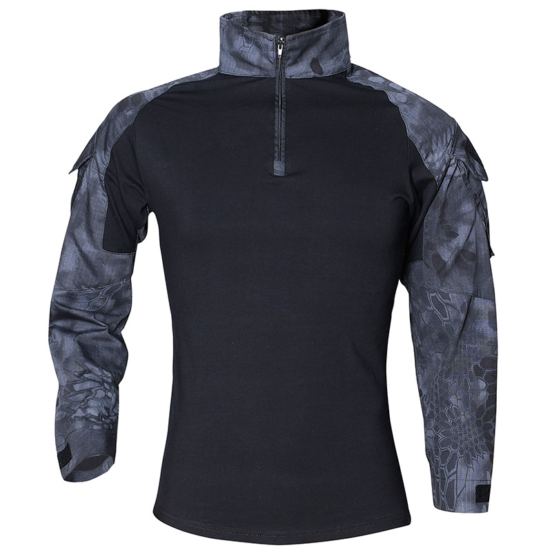 CS Shooting Tactical Camouflage Shirt With Elbow Pad Men Outdoor Hunting Training Paintball Army Combat Long Sleeve T-Shirt Tops classic plaid pattern shirt collar long sleeves slimming colorful shirt for men