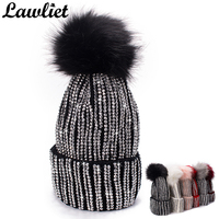 Lawliet Winter Hats Faux Fur Pom Pom Rhinestone Bling Style Women Beanies High Quality Warm Knitted