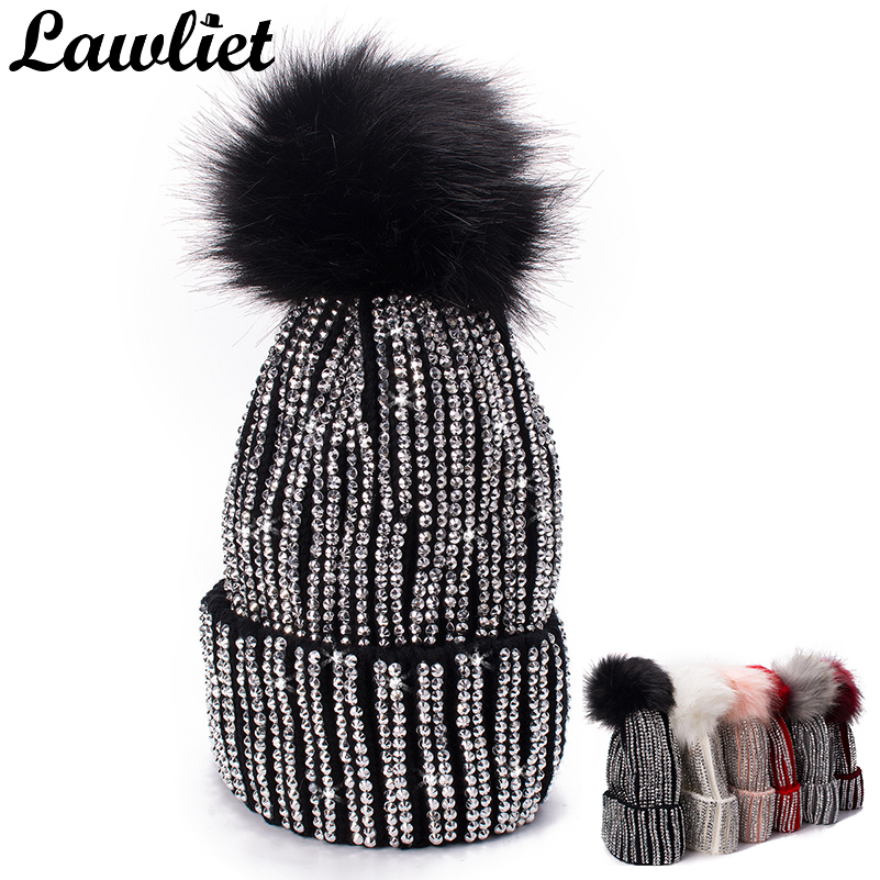 878f51f5 Lawliet Winter Hats Faux Fur Pom Pom Rhinestone Bling Style Women Beanies  High Quality Warm Knitted Hat Ladies Skull Cap 6 color