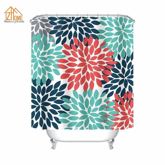 Memory Home Multicolor Dahlia Pinnata Flower Orange Blue Teal Shower Curtain  Fashion Bathroom Decor Fabric Bath