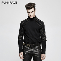 Punk Rave Rock Steampunk Fashion Armor Black Gothic Streetwear Cotton Turtleneck Men's T shirt T484