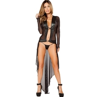 Women Sexy Leather Mesh Black Long Nightdress Night Gown Sheer See Through Transparent Nightie Sleepwear Robe