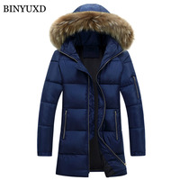 BINYUXD Parkas Cotton Jacket Mens Winter Hooded Windproof Fake Fur Thick Warm Padded Overcoat 2017 Casual