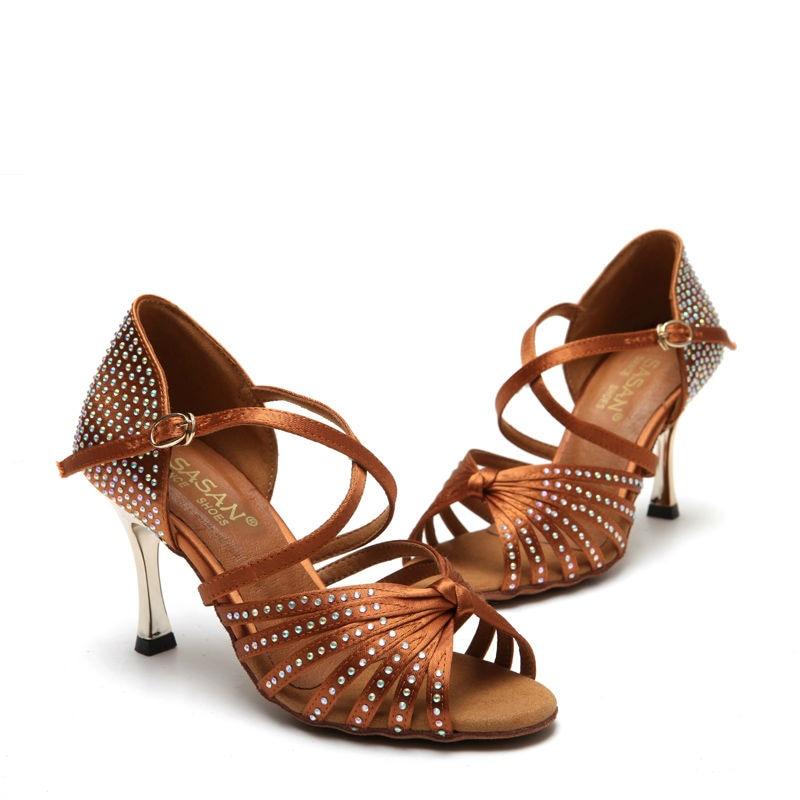 Standard Dance Shoe Party Ballroom Dancing Sneakers Diamond Flesh Fitness Breathable Ladies Aerobics Shoes Teacher SASAN
