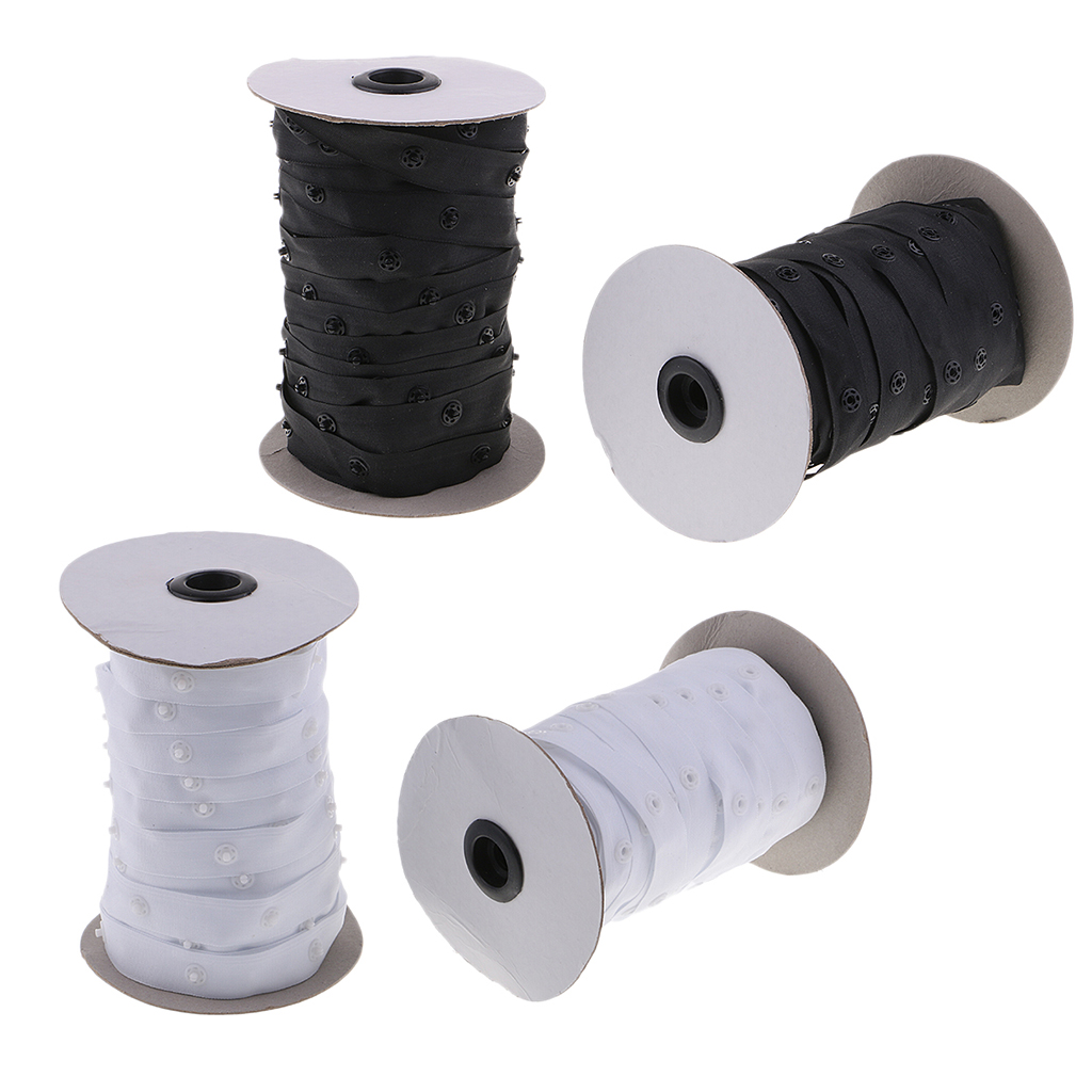 Image 5 - 2 Rolls 50 Yards Resin Button Snap Tape Polyester Twill Sewing Duvet Cover Coat FastenersButtons   -
