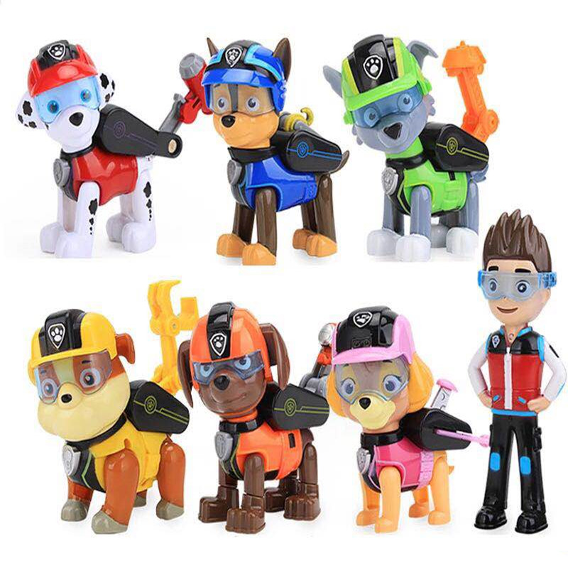 7 Pcs/Set Paw Patrol Dog Puppy Anime Figure Patrulla Canina Action Figure Model Kids Toys Children Gifts