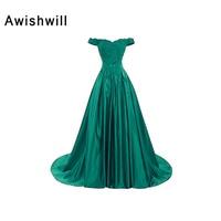 Engagement Party Banquet Long Evening Dress Off The Shoulder Appliques Satin Elegant Prom Dress Custom Plus